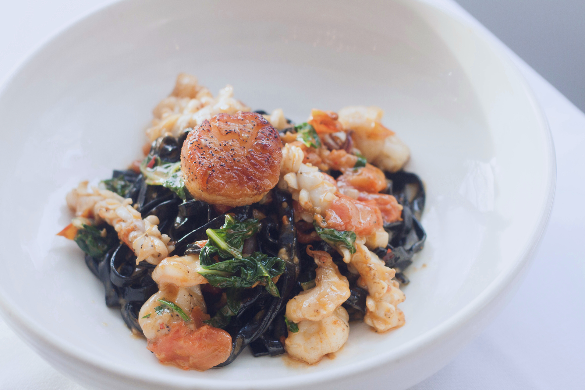 A squid ink pasta dish served at Ristorante Beatrice.