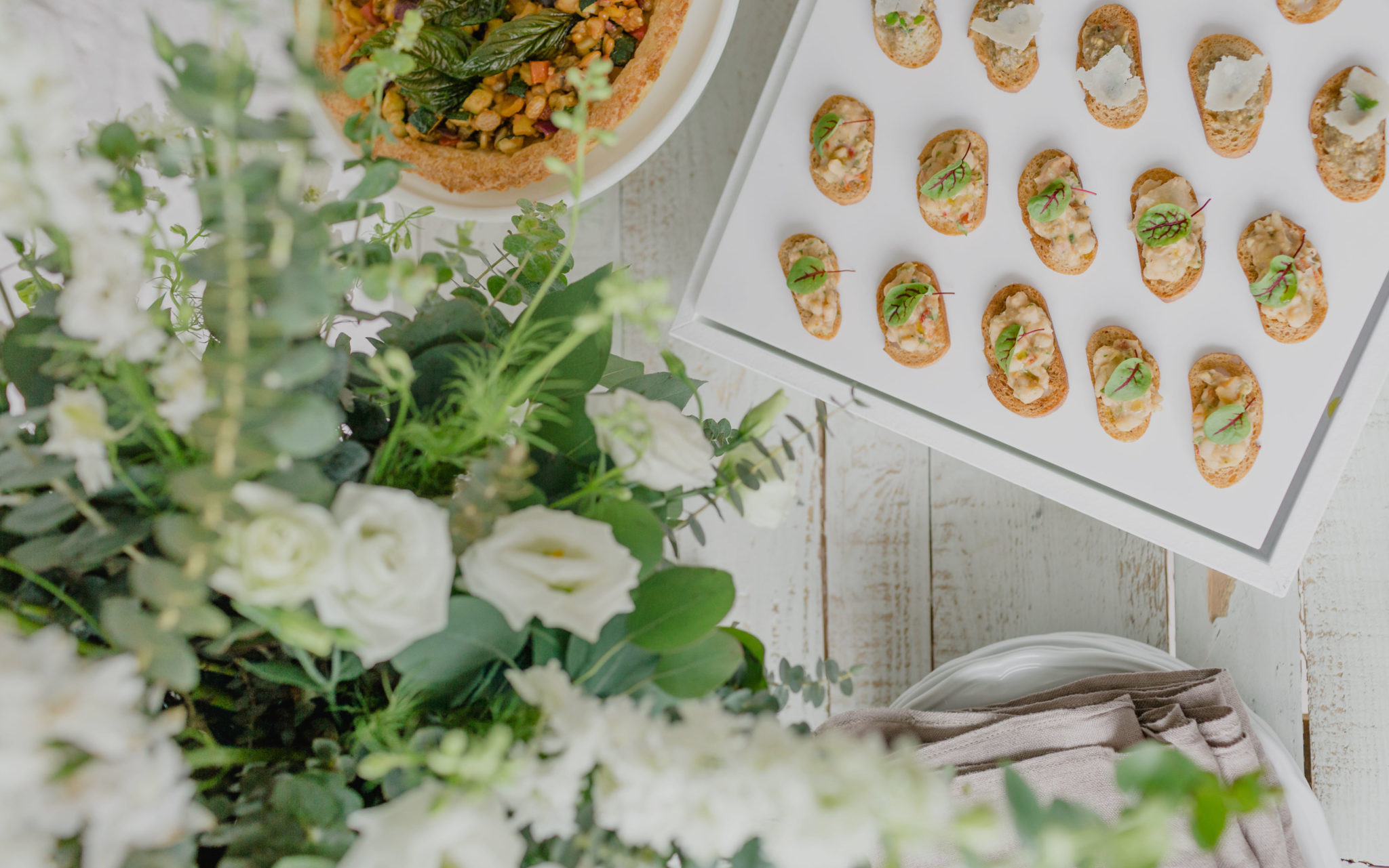 Arial shot of a table from an event catered by Ristorante Beatrice