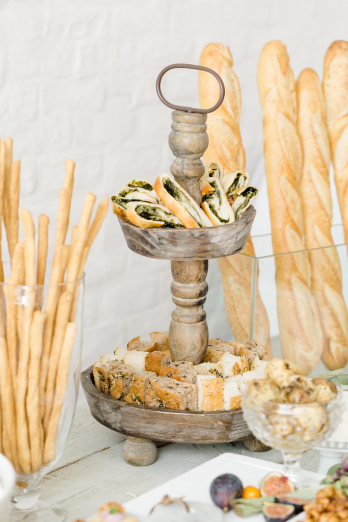 A table with hors d'oeuvres from an event catered by Ristorante Beatrice.